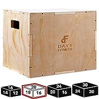 Wood Plyometric Box by Day 1 Fitness - 4 SIZE OPTIONS (16x14x12, 20x18x16, 24x20x16...