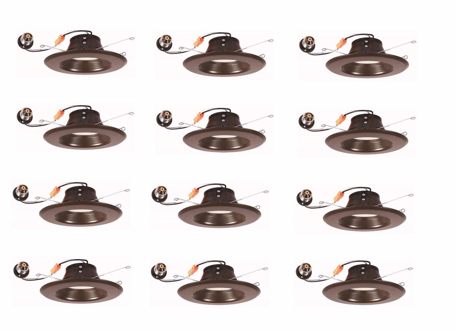 Elitco Lighting R41330KBZ-12PK LED-Household-Light-Bulbs 4'' Retrofit, 3000K, 120°, CRI90, ES, Etl, 13W, 65W Equivalent, 50000HRS, LM800, Dimmable, 5 Years Warranty, Input Voltage 120V, Bronze 12 Pack