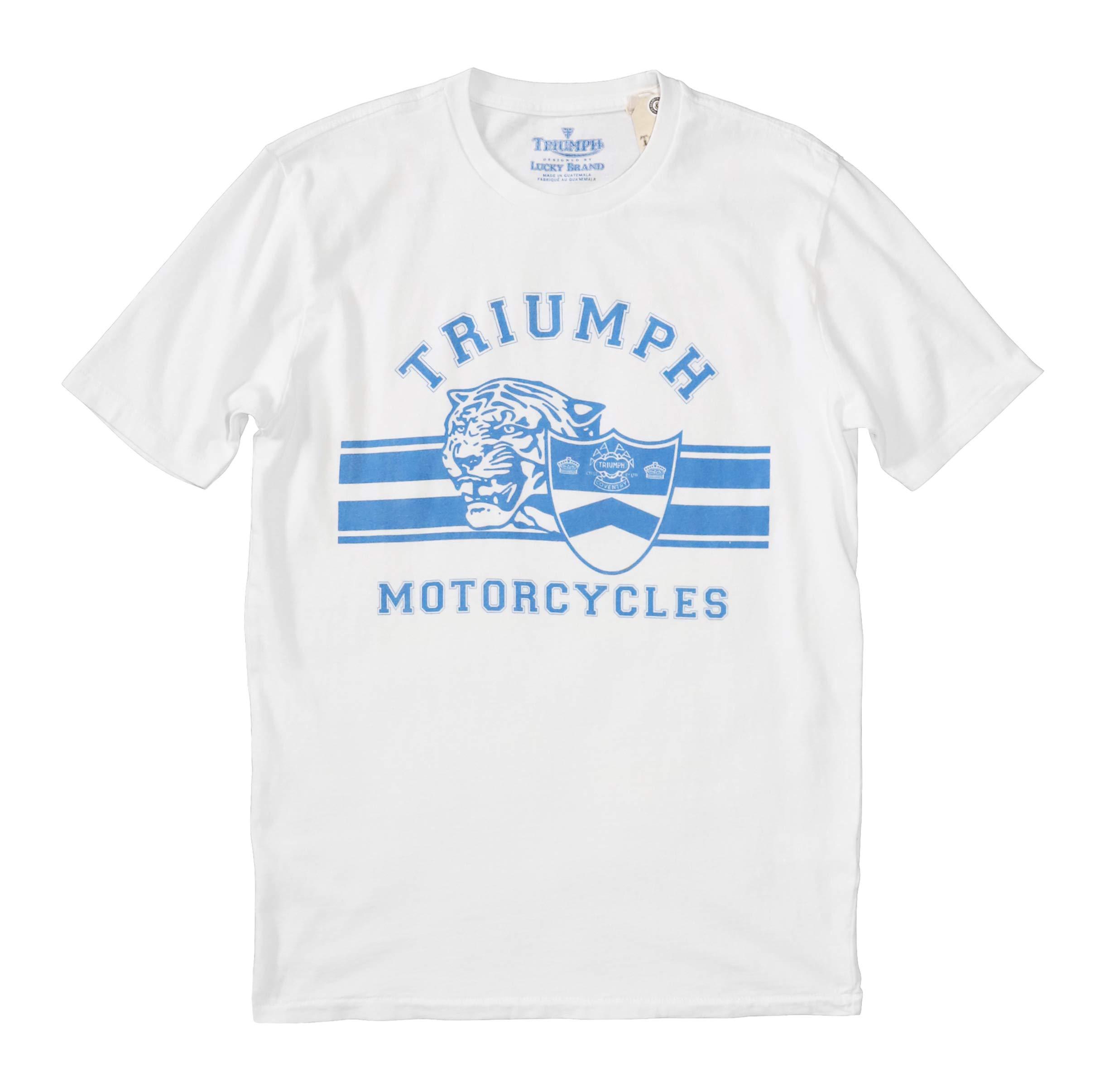 Lucky Brand Men's White Triumph Motorcycle Logo Tee (Medium)