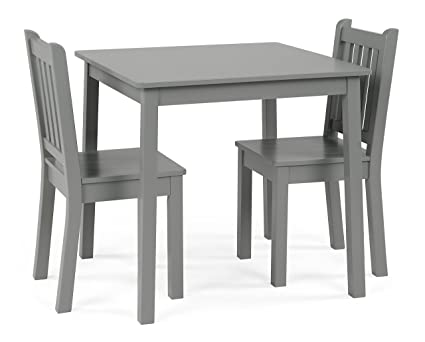 Amazon Com Humble Crew Cl329 Wood Table 2 Chairs Set Grey