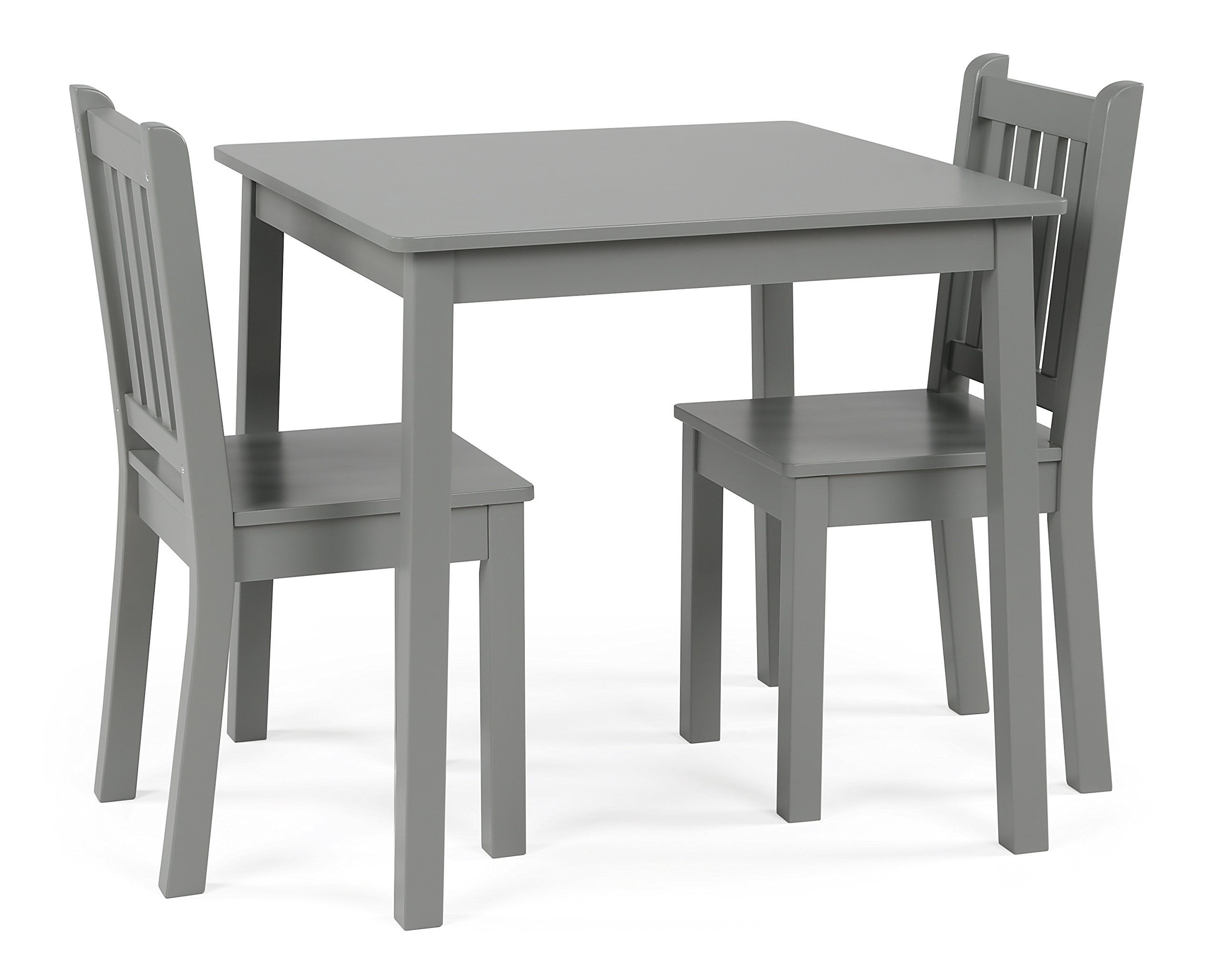 Curious Lion Wood Kids Table and Chairs 3 Piece Set (Grey)