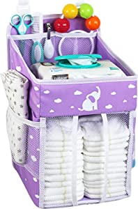 Hanging Diaper Caddy - Diaper Organizer for Crib - Storage for Baby Nursery - Hang on Crib, Changing Table, Playard or Furniture –Elephant Purple – 17x9x9 inches