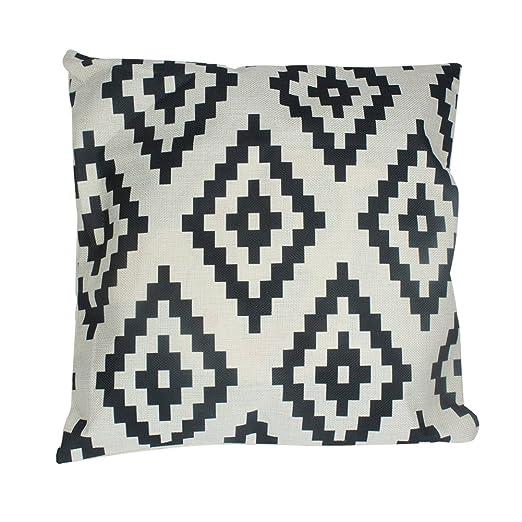 Timorr - Funda de cojín de lino con patrón geométrico simple de rombos, funda de cojín de estilo retro y elegante de 45 x 45 cm, color blanco y negro