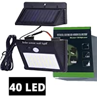 Luz solar exterior 40 LED, sensor de movimiento, panel solar separado (desmontable), focos led solares potentes de jardín, luces solares led, lámpara solar de seguridad impermeable