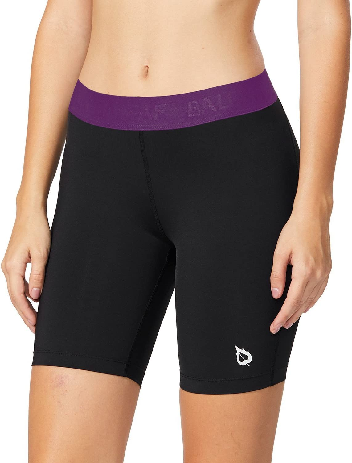 BALEAF Womens 7 Inches Long Compression Running Yoga Spandex Shorts Workout Back Pockets