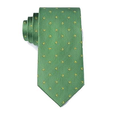 Men's Microfiber St Patrick's Irish Good Luck Shamrock Necktie Tie Neckwear (Green): Shoes