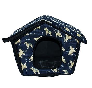 Caseta de Tela Plegable/ Cuna Perro/ Habitación Portátil/ Nido Mascota para Perros, Gatos Pequeños con forma de casa (AZUL OSCURO, L): Amazon.es: Hogar
