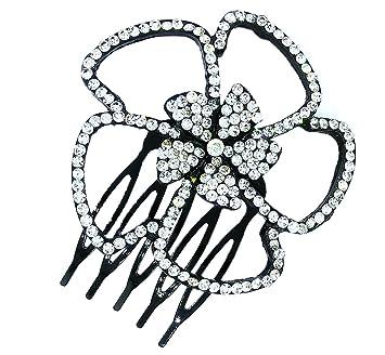 Amazon Com Flower Crystal Rhinestone Hair Comb Clip Wedding Hair