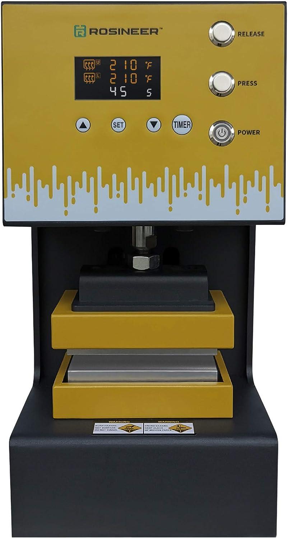 Rosineer AUTO-E - Máquina de prensado de calor híbrido Plug-N-Play, 4 toneladas, 76 x 127 mm, placas aisladas robustas y sin esfuerzo
