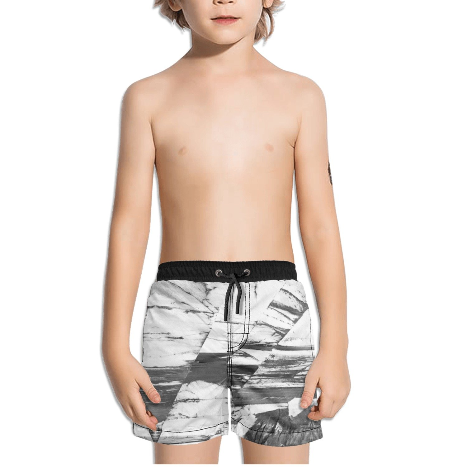 Ouxioaz Boys Swim Trunk Abstract White and Black Art Beach Board Shorts