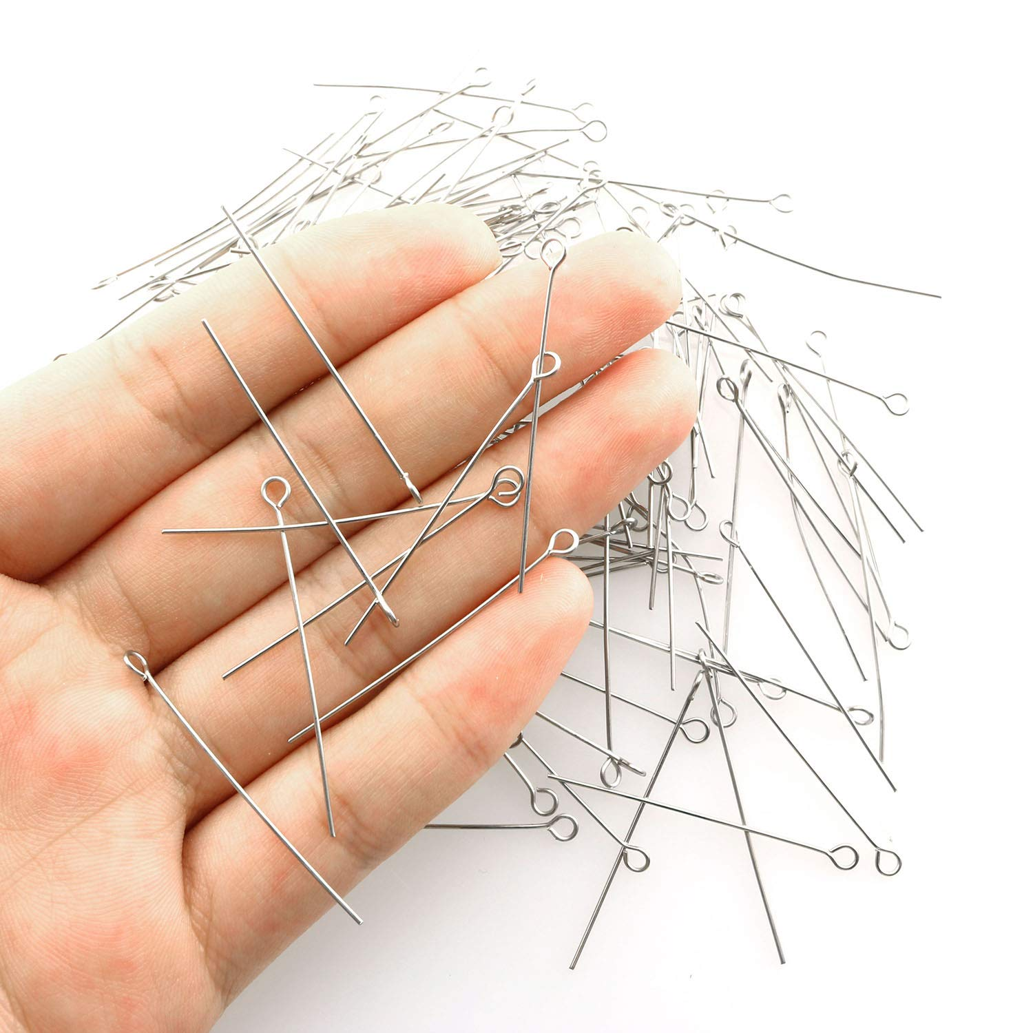 Tegg Eye Pin 200PCS 1.6inch//40mm 304 Stainless Steel Open Eyepins Headpins for Jewelry Necklace Making