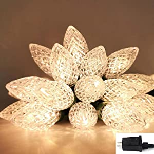 C9 Christmas String Lights with ETL Certified Adaptor, Waterproof 50 LED String Lights Outdoor Christmas Lights for Christmas Trees, Garden, Patio, Wedding, Parties (Warm White)