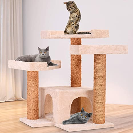 Leopet – Rascador para Gatos Árboles Gato Rascador Árbol para Gatos Escalada algodón 66 cm