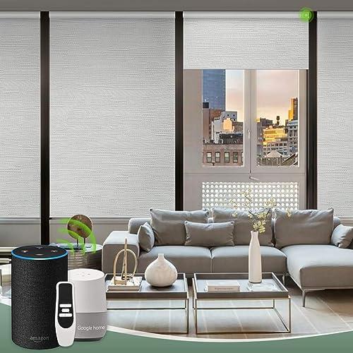 Yoolax Motorized Hardwired Roller Shades Plug-in Blackout Window Shades Smart Alexa Roller Blinds Jacquard White
