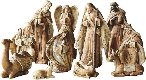 Raz 9.5 Resin Christmas Nativity Figurine Set of 11 Pieces