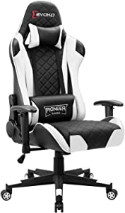 Devoko Racing Style Gaming Chair Height Adjustable Swivel PC Computer Chair with Headrest and Lumbar Support Leather Reclining Executive Office Chair (White)