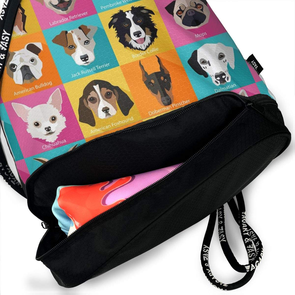 Set Of Flat Popular Breeds Of Dogs Icons Personality Multifunctional Bundle Backpack Shoulder Bag For Men And Women