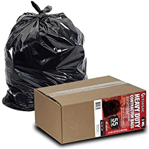 Heavy Duty 55 Gallon Contractor Bags - (40 Count, 3 MIL) - 38