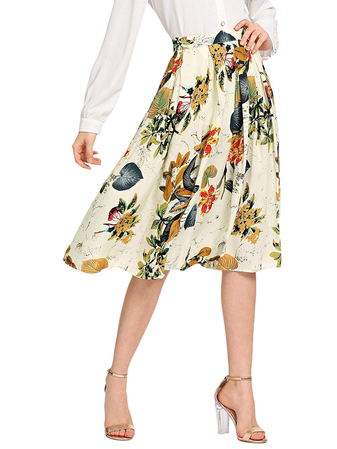 Floral White SheIn Women's Casual High Waist A Line Pleated Midi Skirt with Pockets