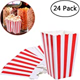 NUOLUX Popcorn Boxes Containers Paper Popcorn Bags White Red Striped Pack of 24