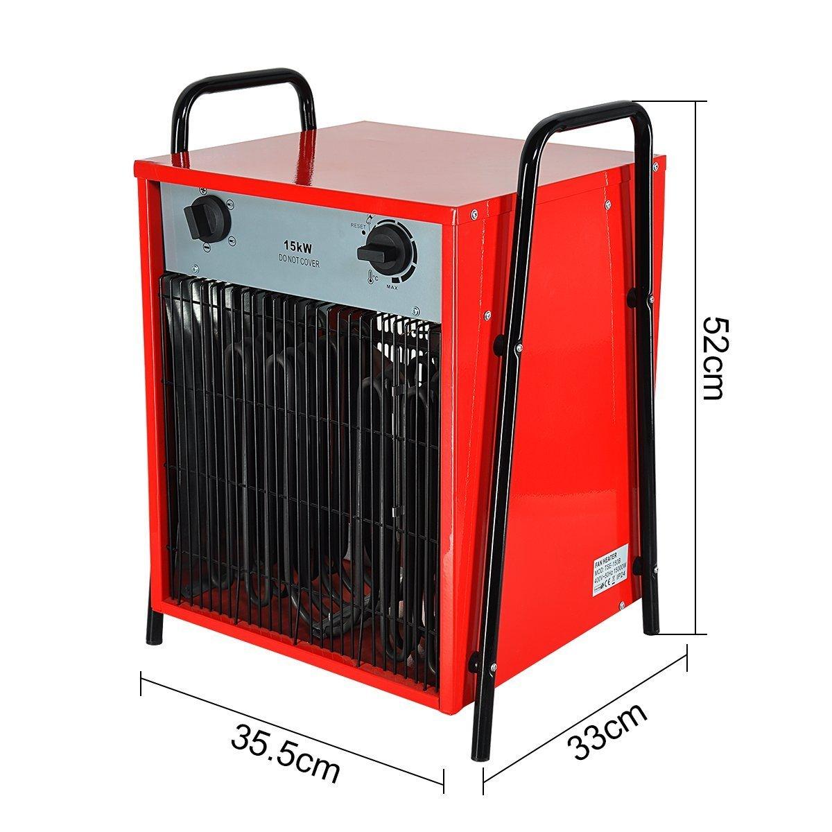 Happyjoy Ventilador del calentador Ventilador del calentador eléctrico Generador de aire caliente Ventilador industrial Calentador (máximo 15 kW, ...