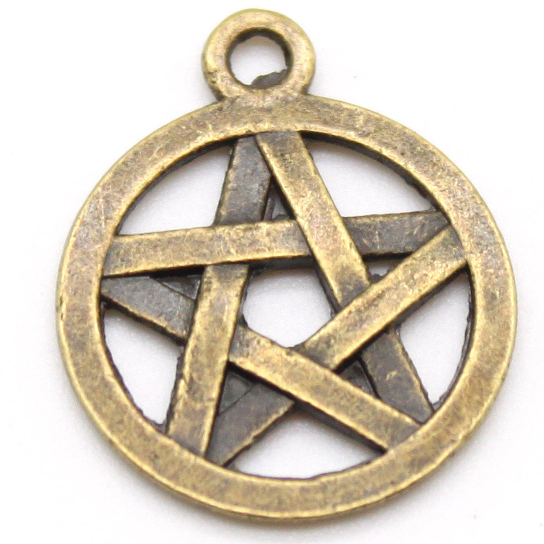 Wicca Tibetan Silver Pentagram//Star Charms 10 per pack