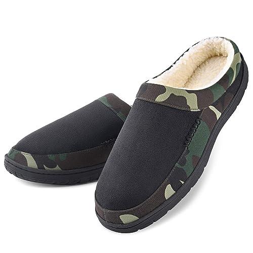 28a522656e67 Dasein Men s Winter Memory Foam Slippers Soft Warm Cozy Fleece Slip-on Clog  Comfortable Anti