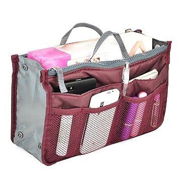 1ae6bb946308 Multi-function Women Handbag Organizer Wine Red Multi-Pocket Travel  Cosmetic Insert Organizer...