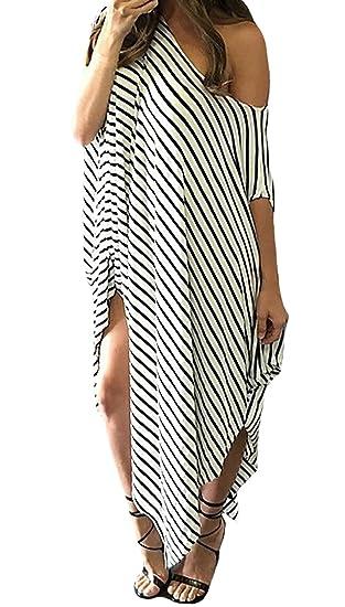 Vestidos Maxi Mujer Moda Anchas Flecos Vestidos De Verano One Shoulder Mangas De Murciélago Irregular Asimetricos Abiertas Vestido Playa Vestido Largo ...