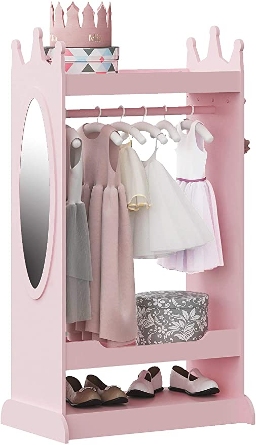 Pink UTEX Kid's See and Store Dress-up Center Open Hanging Armoire ...