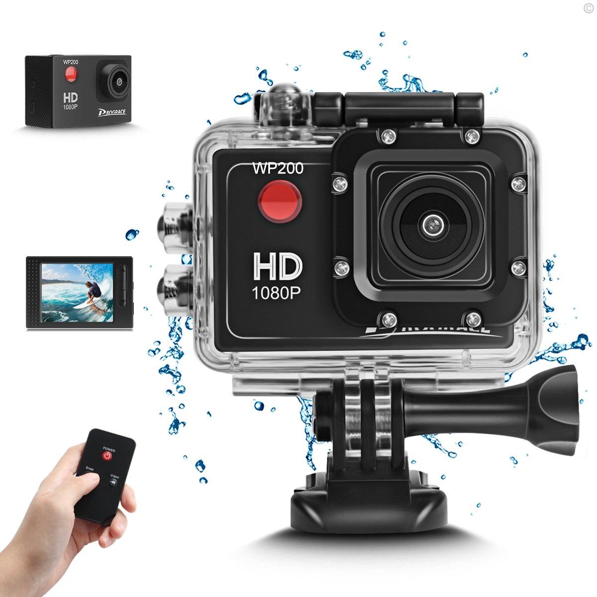 DROGRACE WP200 Sports Action Camera Video Camera Waterproof Digital Cam Car Dash Cam Full HD 1080P 12MP 25fps 30fps Helmet Mount Accessories Camera Kit 2 Inch LCD Screen