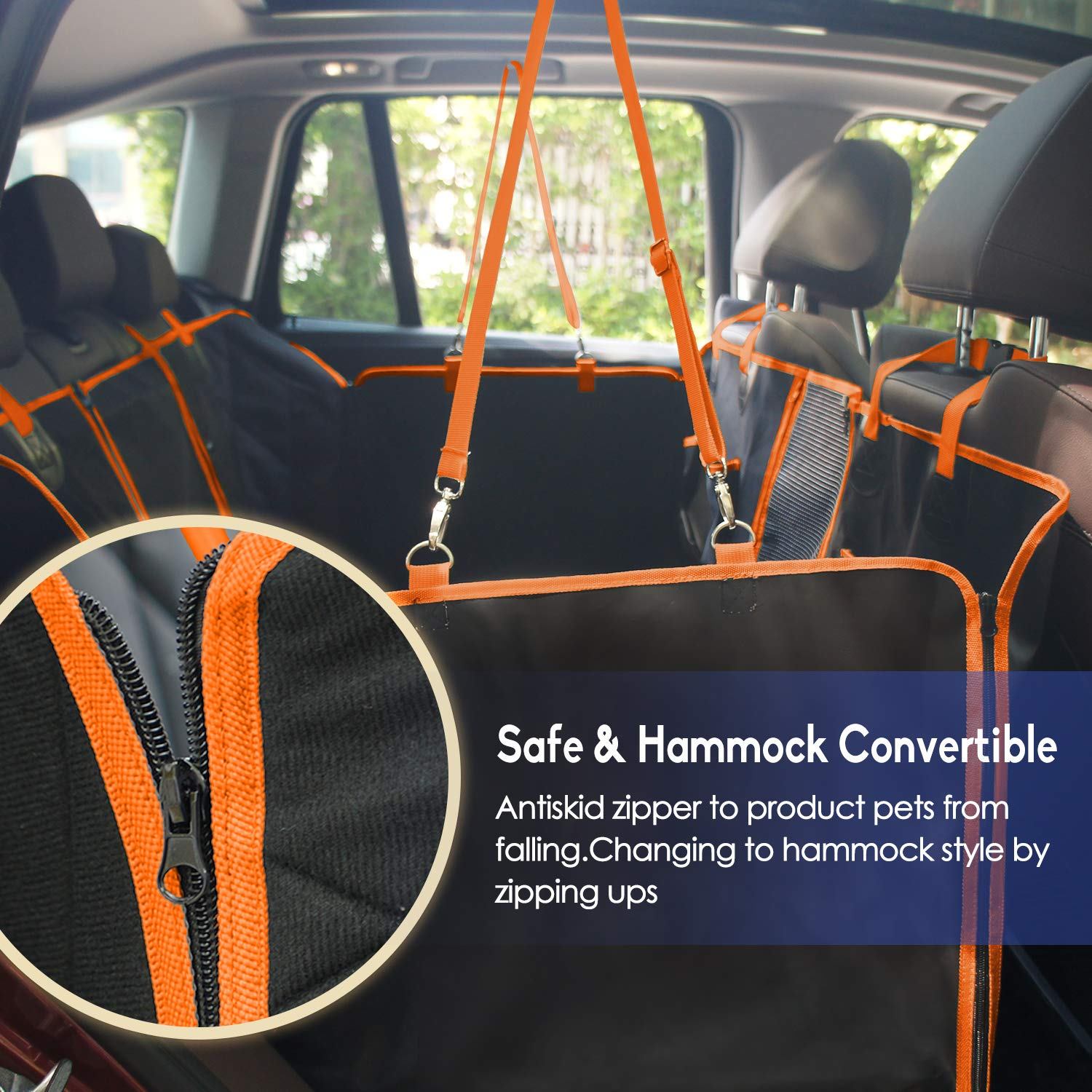 Dog Hammock Dog Car Back Seat Cover with Mesh Viewing Window /& Storage Pocket /& Side Flaps Waterproof Non-Scratch Nonslip Durable Dog Seat Cover for Cars//Trucks//SUV Orange ROTANET Dog Seat Cover