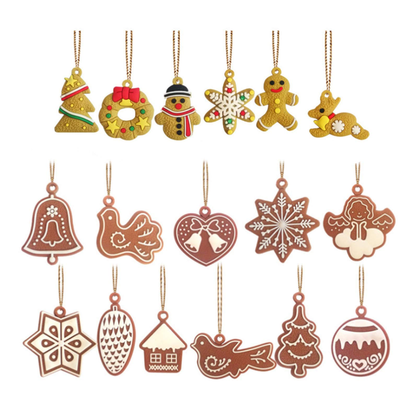 Elionless MINI Christmas Tree Ornaments,17 Pieces Small Christmas Tree decoration Traditional Ginger Man Snowflake Snowman Reindeer Xmas Hanging Charms Pendant