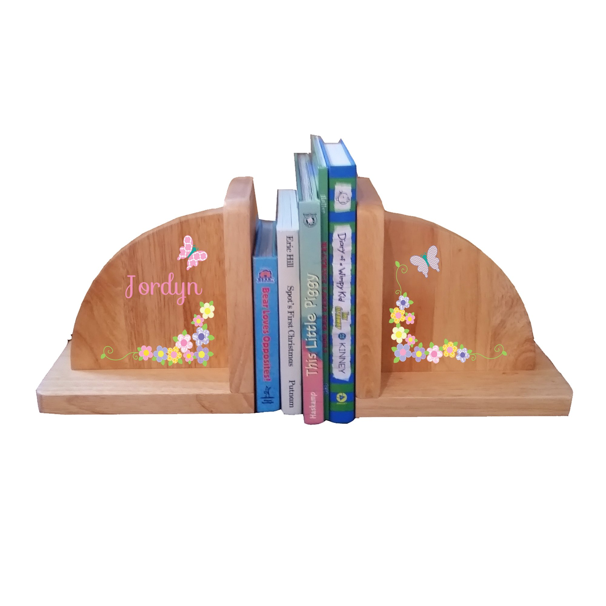 Personalized butterfly Garland pastel Natural Childrens Wooden Bookends
