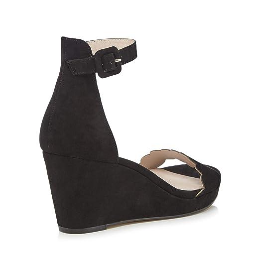 d077839be0c1 Faith Womens Black Suedette  Dust  Mid Wedge Heel Ankle Strap Sandals 4   Faith  Amazon.co.uk  Clothing