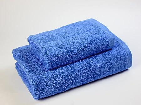EL DRAGON BLANCO Pack Toalla DE Lavabo+ Toalla DE BAÑO Carla,500 gr/m2,Azul Medio: Amazon.es: Hogar