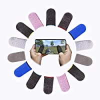 Shougua Mobile Game Controller Finger Sleeve Sets [14 Pack],Smooth Thin Anti-Sweat Breathable Full Touch Screen…