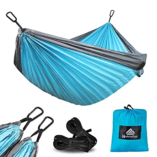 NATUREFUN Ultra-Light Travel Camping Hammock   300kg Load Capacity,Breathable,Quick-drying Parachute Nylon   2 x Premium Carabiners,2 x Nylon Slings Included   For Outdoor Indoor Garten