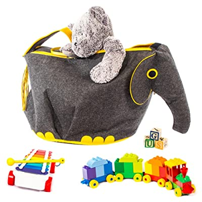 Great Useful Stuff G.U.S Animal Shaped Toy Storage Box, Collapsible Lightweight Bins with Easy Open, Double-Pull Zipper Handle, Elephant, Gray with Yellow: Toys & Games