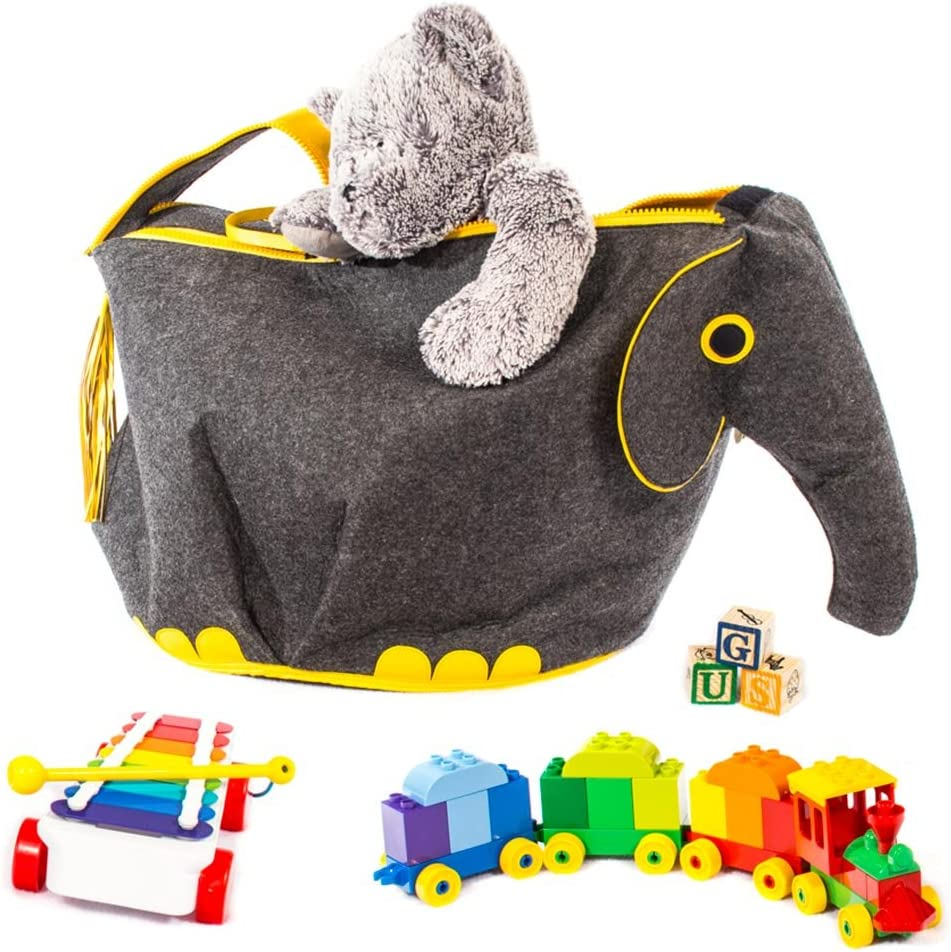 Great Useful Stuff G.U.S Animal Shaped Toy Storage Box, Collapsible Lightweight Bins with Easy Open, Double-Pull Zipper Handle, Elephant, Gray with Yellow