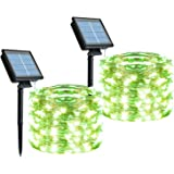 Outdoor Solar String Lights, 2 Pack 33Feet 100 Led Solar Powered Fairy Lights with 8 Lighting Modes Waterproof…