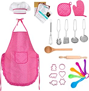 TEPSMIGO Kids Chef Role Play Costume Set 22 PCS, Toddler Cooking and Baking Set with Apron, Chef Hat, Recipe Cards, Cooking Mitt, Utensils for Boys and Girls Ages 3+