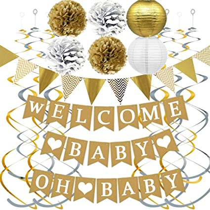 Amazon Com Fecedy Alphabet Welcome Baby Oh Baby Banner With Paper Pom Poms Paper Lanterns Swirl Streamers For Baby Shower Party Decorations Toys Games