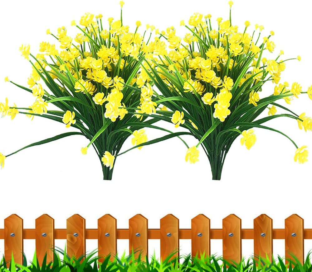 JEMONG Artificial Fake Flowers, 8 Bundles Outdoor UV Resistant Greenery Shrubs Plants Indoor Outside Hanging Planter Home Garden Decorating(Yellow)
