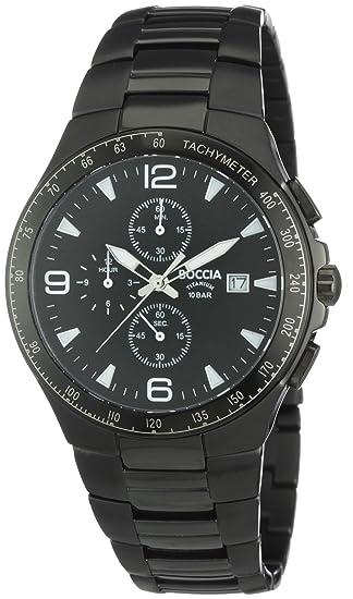 Boccia B3773-03 - Reloj de caballero de cuarzo, correa de titanio color negro