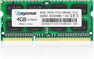 PC3-10600, DDR3 1333, ROYEMAI 4GB DDR3 PC3 10600S DDR3 RAM 2Rx8 1.5V CL9 DDR3 Sdram Notebook Computer RAM Memory for for iMac 27-inch Mid 2010, iMac 21.5-inch Mid 2010
