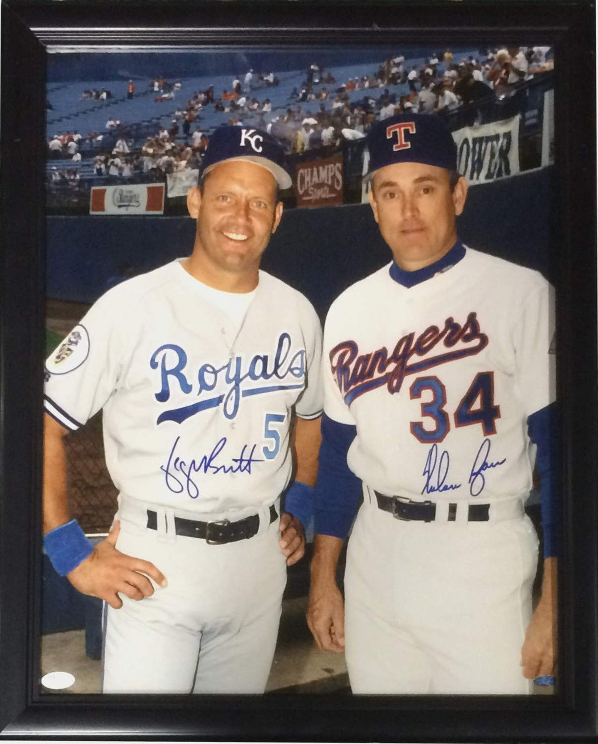 cb7aadbc45f Nolan Ryan George Brett Royals Autographed Signed 16x20 Photo Framed 2 Auto  HOF - JSA Authentic at Amazon s Sports Collectibles Store