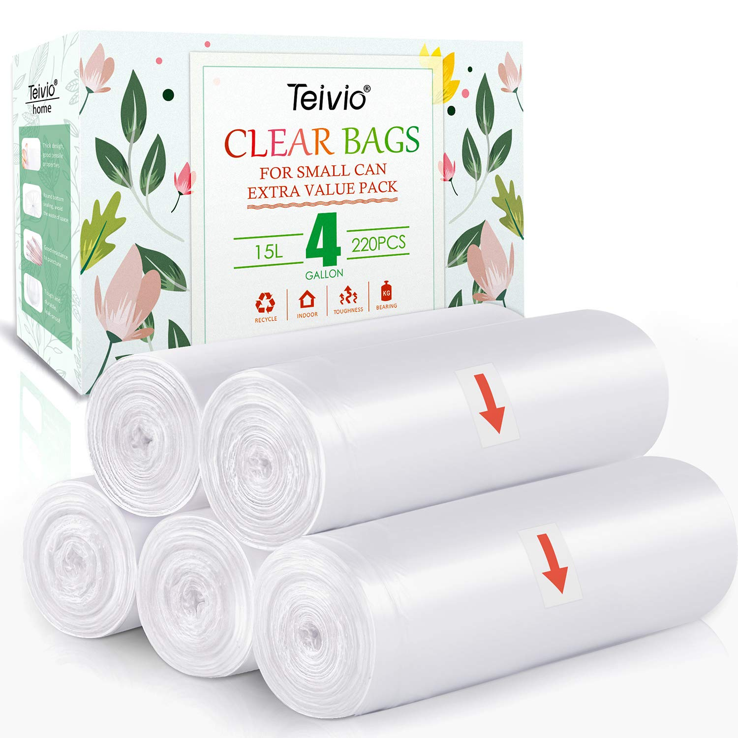 4 Gallon 220 Counts Strong Trash Bags Garbage Bags, Bathroom Trash Can Bin Liners, Small Plastic Bags for home office kitchen, Clear by Teivio