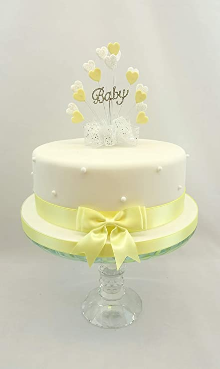 BABY SHOWER/CHRISTENING /YELLOW HEART BURST DIAMANTE BABY CAKE ...