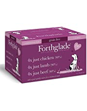 Forthglade 100 Percent Natural Grain Free Complementary Wet Dog Food Just 90 Percent Meat, Variety Pack, 395 g (Pack of 12)